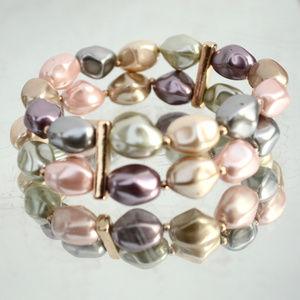 Jewelry - Pastel Baroque Faux Pink Pearl Bracelet Wide Gold